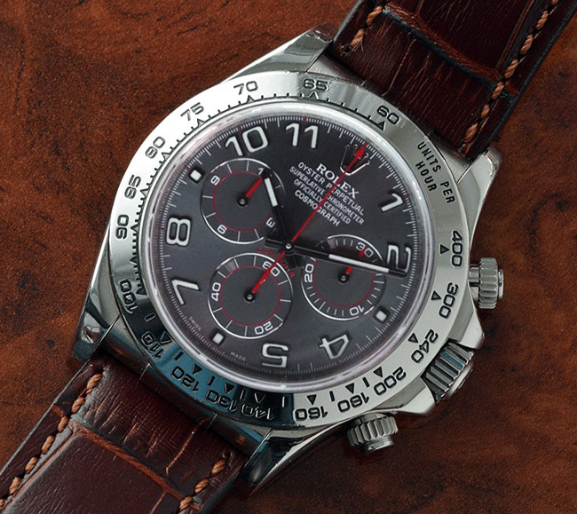 Rolex Daytona brown strap grey dial