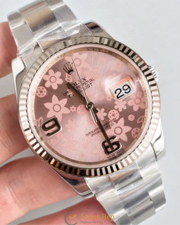 Rolex datejust pink flowers 36mm