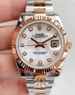 Rolex datejust jubilee two tone rose gold diamonds 36mm